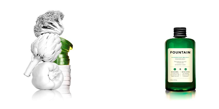 Super Green Molecule Fountain_White Veggie Stillife