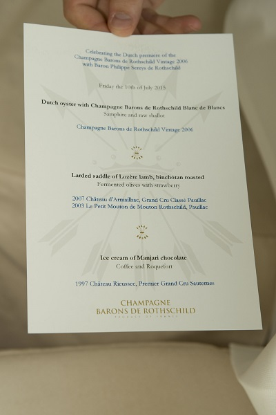 Rothschild menu Hotel de l'Europe Bord'eau