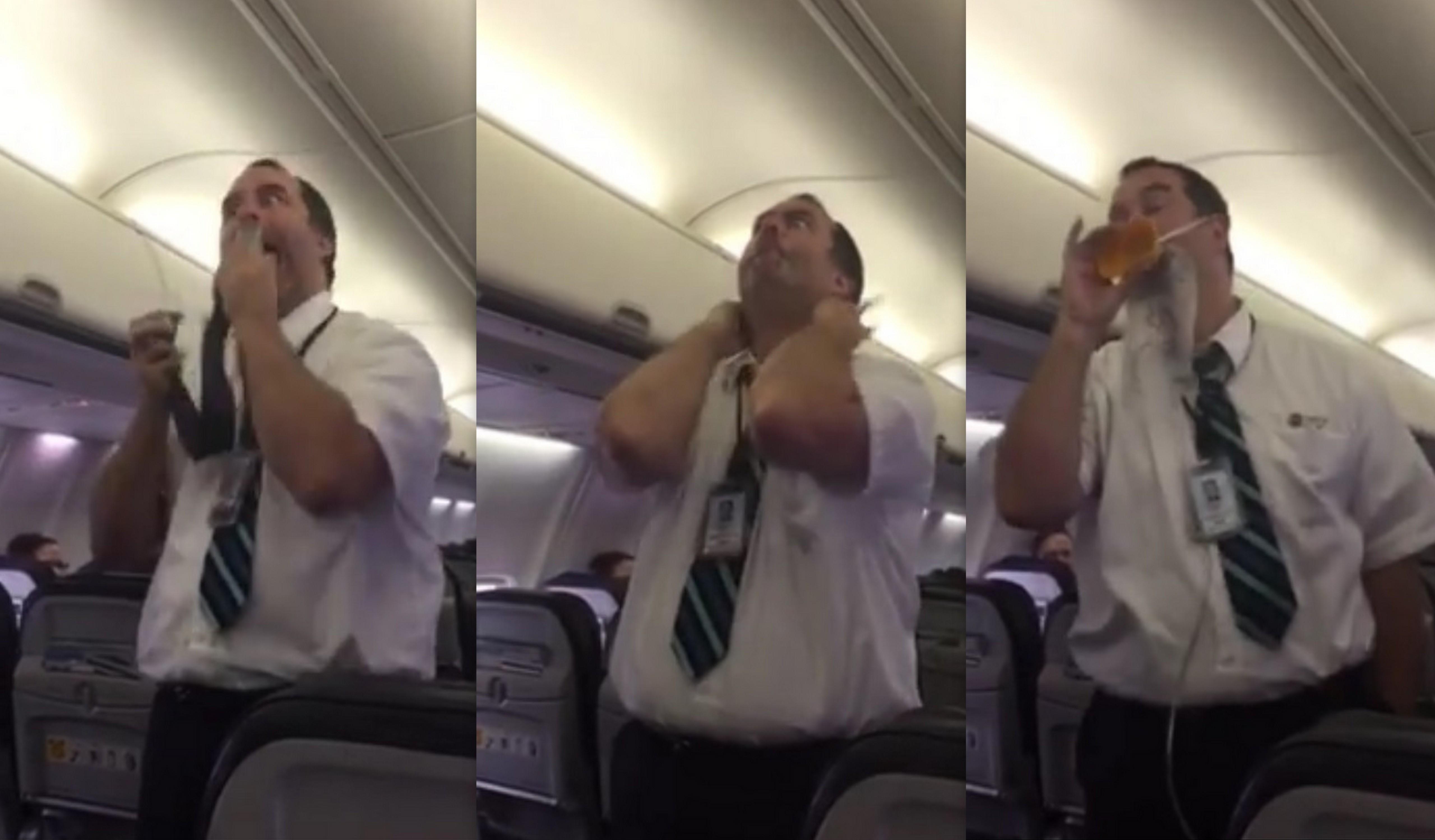 Video: Hilarisch! Steward legt op eigen wijze de instructies uit
